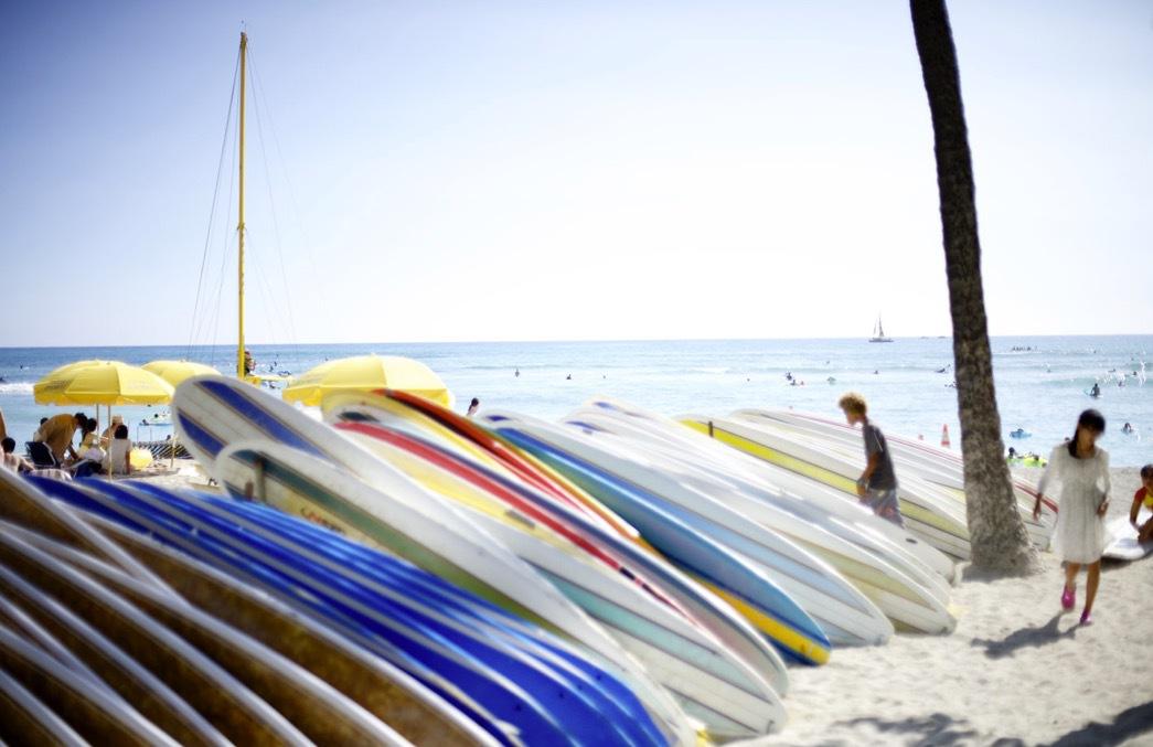 Waikiki beach på Oahu är en av de mest utsatta stränderna för solskyddspollution. Foto: Agneta Elmegård