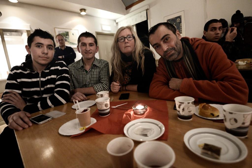 Bilal Al Seday, 19, Mohammad Kheir Ataya, 19, Inga-Lill Pettersson, 51 och Ammar Subeh, 37. Foto: Stefan Mattson.