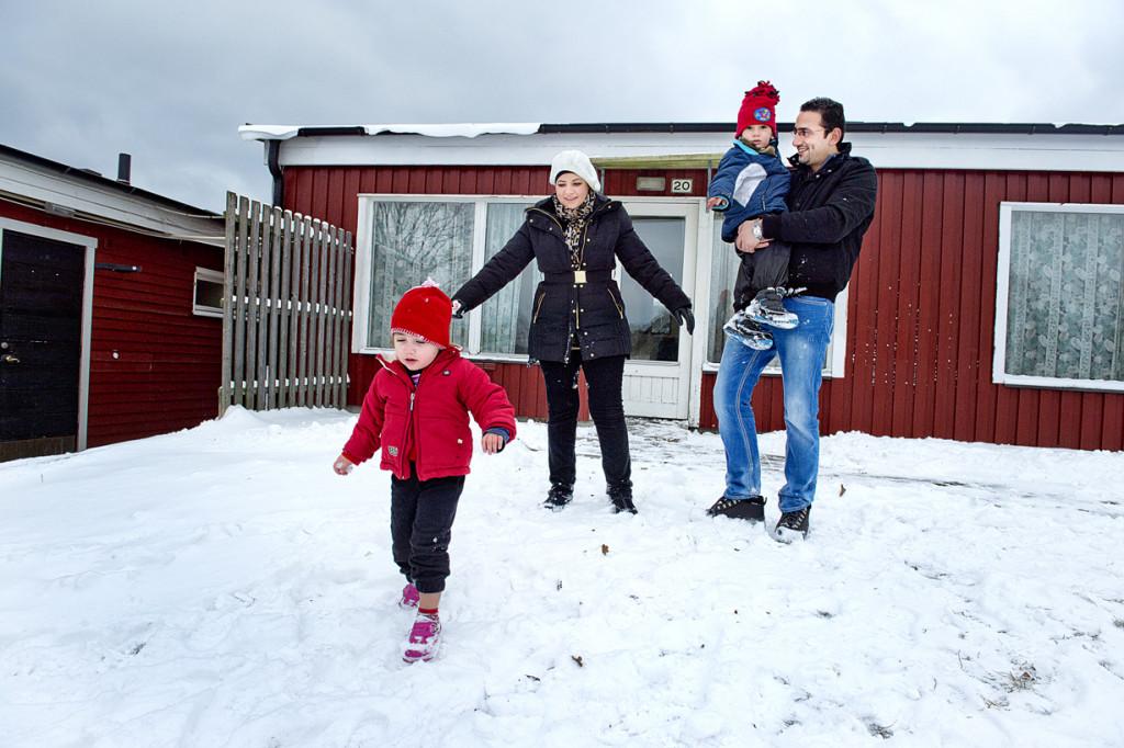 Familjen Alkurdi har varit i Sverige i två månader. Foto: Lars Allard.