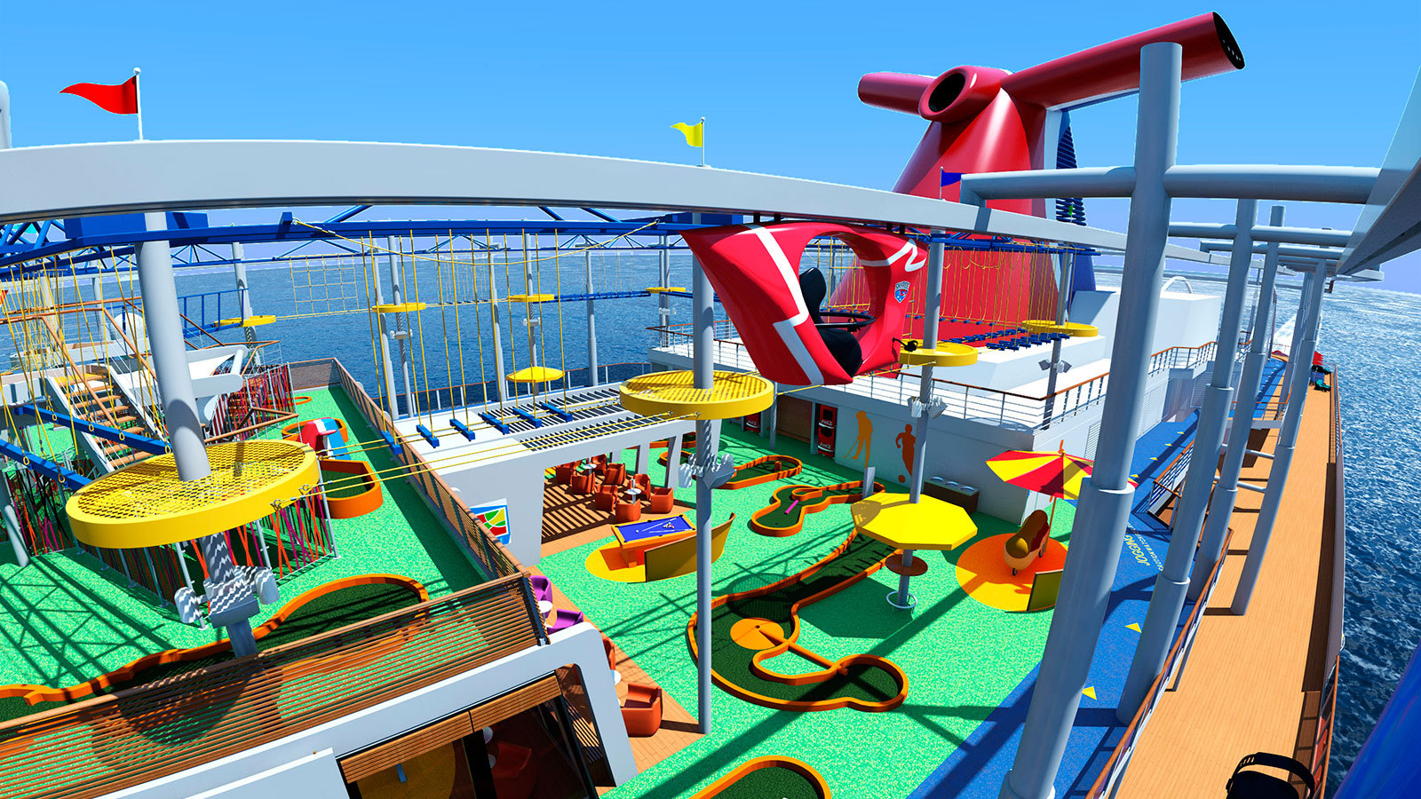 Pool- och sportdäcken bjuder på mycket action. Foto: Carnival Cruises