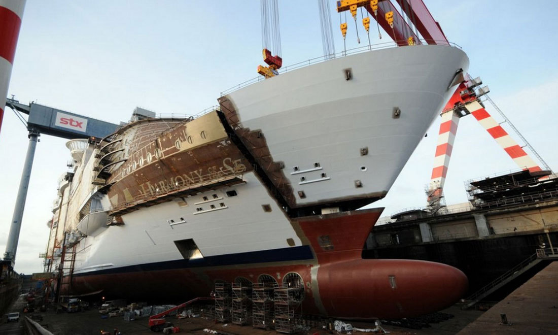Harmony of the Seas blir allt större. Foto: STX France
