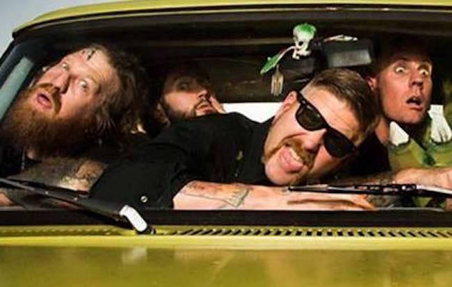 Även väldigt allvarliga killar som de i Mastodon gillar att spexa till det mellan varven. Foto: Promotionbild