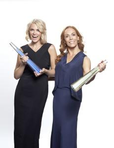 Josephine Bornebusch och Rachel Mohlin, som är programledare för Kristallen 2015.