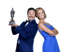 Programledarna Karin Frick och David Sundin.