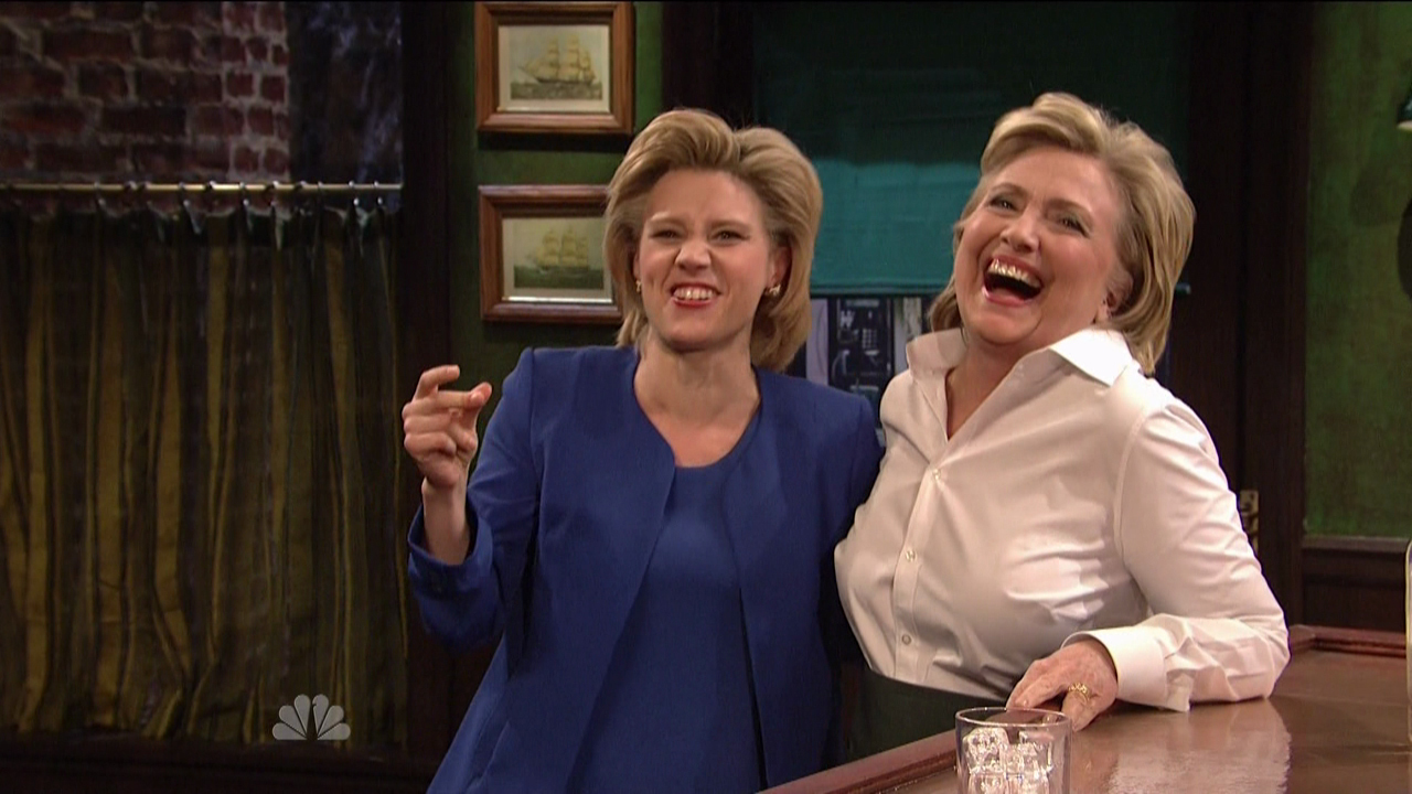 Miley Cyrus hosts the 41st season premiere of NBC's 'Saturday Night Live'. Democratic Nominee Hillary Clinton pops in a sketch on SNL playing a Bartender and doing an impression of Republican Nominee Donald Trump.Featuring: Hillary Clinton, Kate McKinnonWhere: United StatesWhen: 03 Oct 2015Credit: Supplied by WENN.com**WENN does not claim any ownership including but not limited to Copyright, License in attached material. Fees charged by WENN are for WENN's services only, do not, nor are they intended to, convey to the user any ownership of Copyright, License in material. By publishing this material you expressly agree to indemnify, to hold WENN, its directors, shareholders, employees harmless from any loss, claims, damages, demands, expenses (including legal fees), any causes of action, allegation against WENN arising out of, connected in any way with publication of the material.**