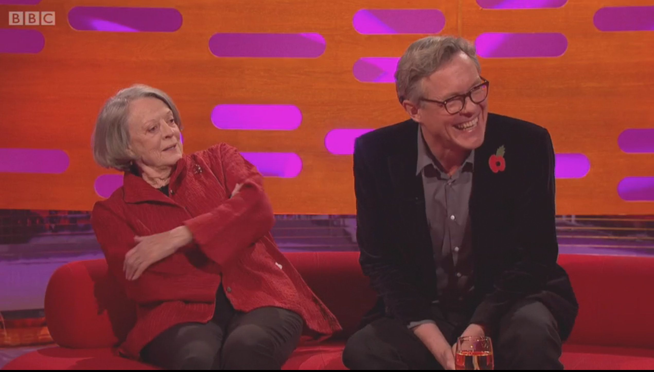"Maggie Smith spelar mot Alex Jennings i ""Tje lady in the van"". Foto: BBC"