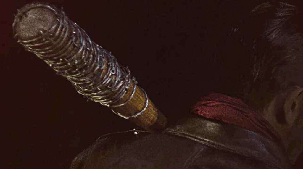 En glimt av Negan, hans tajta skinnpaj och Lucille.
