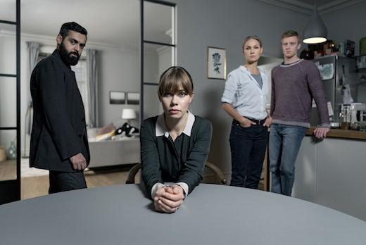 "Ardalan Esmaili, Birgitte Hjort Sørensen, Tova Magnusson och Joachim Fjelstrup i ""Gråzon"". Foto: C More."