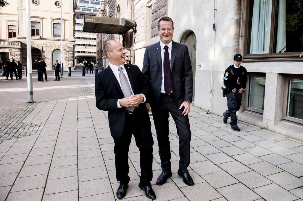 Anders Ygeman tillsammans med justitieminister Morgon Johansson när Sveriges nya regering presenterades 2014. Foto: Carolina Byrmo