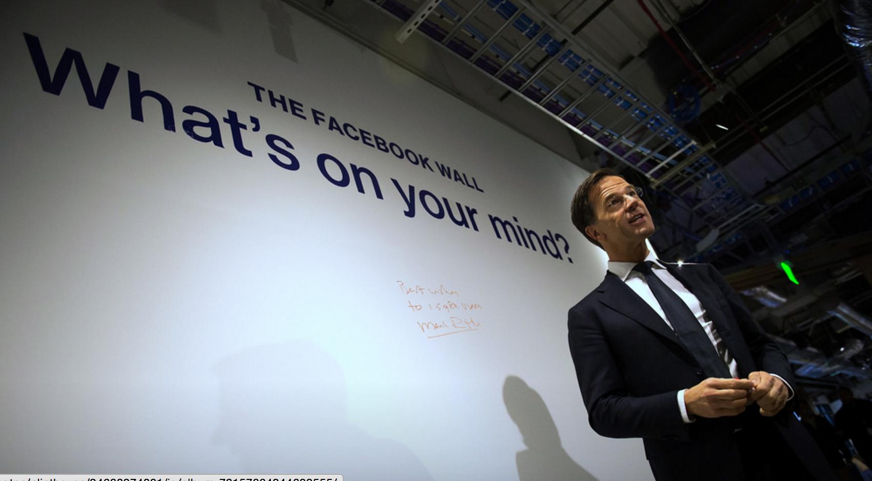 Mark Rutte, Nederländernas premiärminister, som tagit över EU:s roterande ordförandeskap har skrev på Facebooks vägg och grattade till 1,5 miljarder användare.