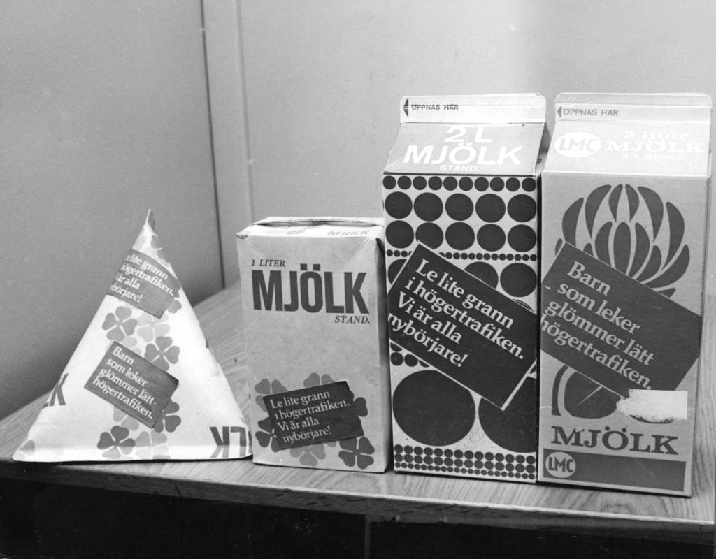 Mjölkförpackningar på 60-talet.