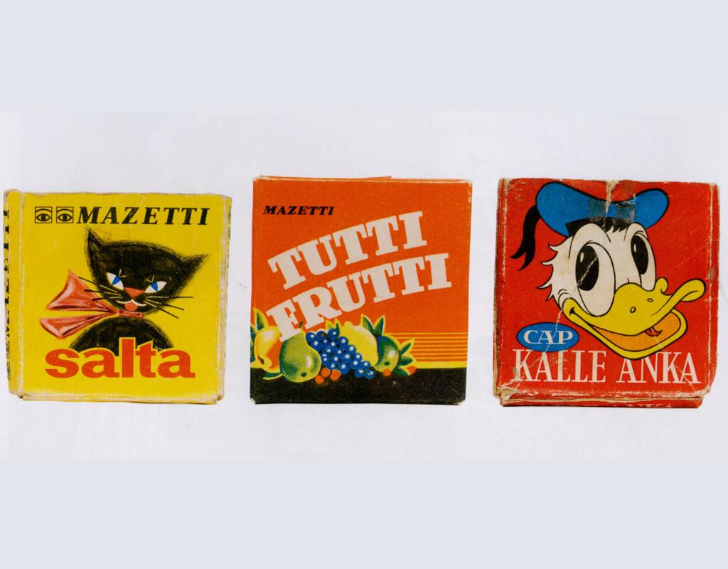 Tablettaskar (som Trix, Kalle Anka, Salta katten).