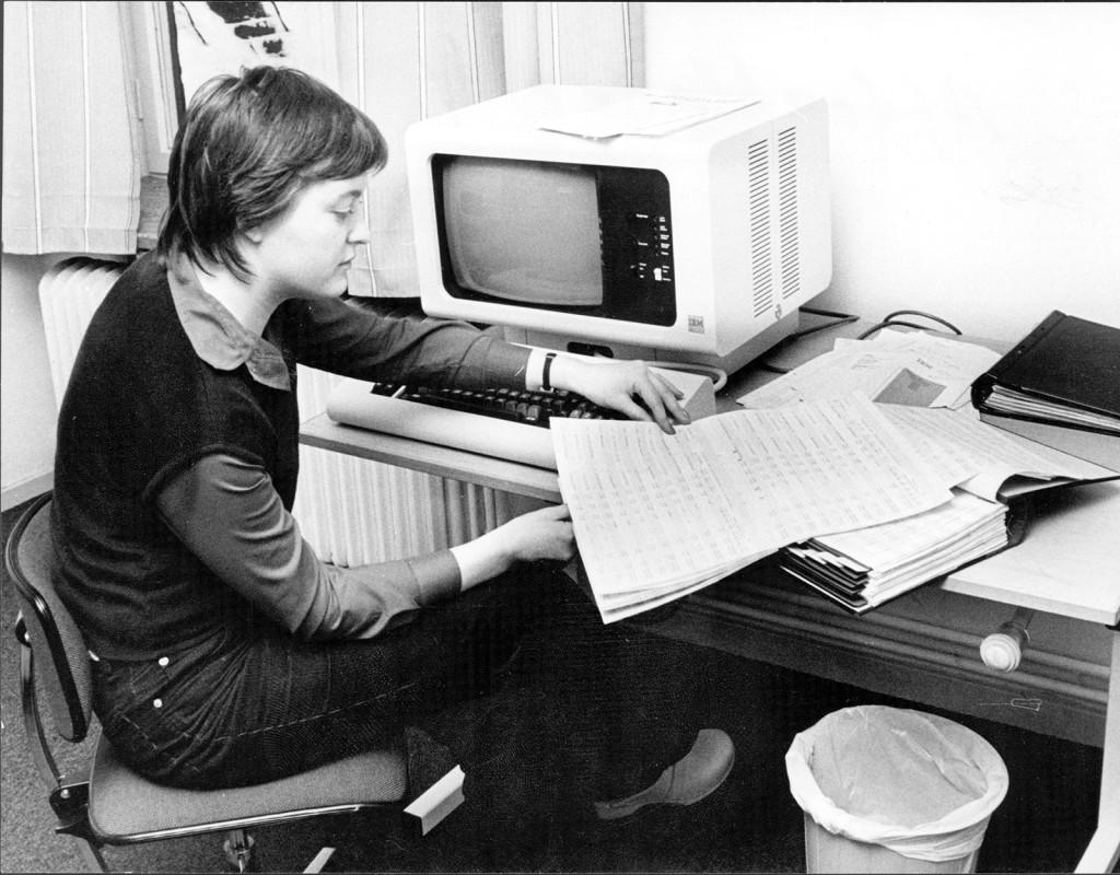 De första datorerna har precis installerats på Aftonbladets lönekontor. Vi skriver, nåja, IT-historia i december 1978. Fotograf: AFTONBLADET