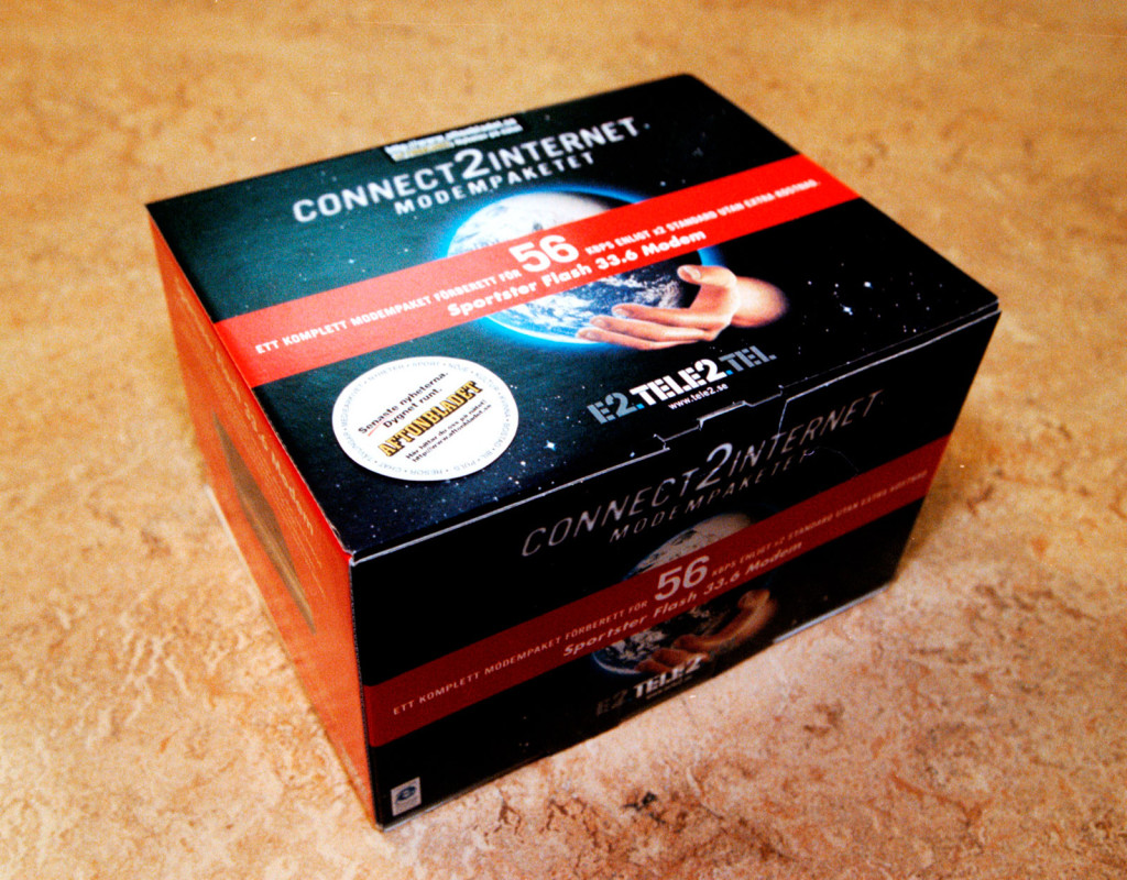 Internetpaketet, med knastrande 56k- modem (1996)