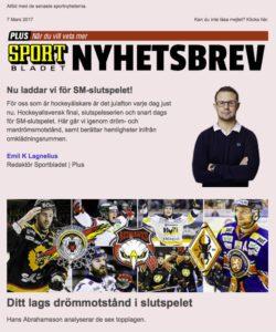 Nyhetsbrev, sportbladet