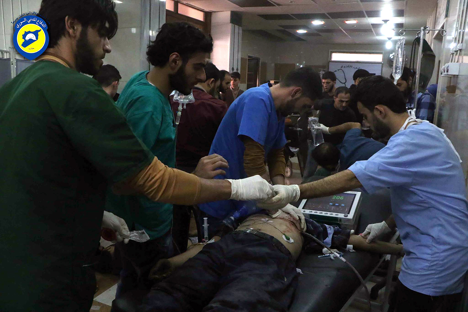 "In this photo provided by the Syrian Civil Defense group known as the White Helmets, shows wounded receiving treatment at a local clinic after airstrikes hit Aleppo, Syria, Sunday, Sept. 25, 2016. A broad coalition of Syrian rebels denounced international negotiations for peace as ""meaningless"" on Sunday, as the U.N. Security Council prepared to convene an emergency meeting about the spiraling violence in Syria. (Syrian Civil Defense White Helmets via AP)"