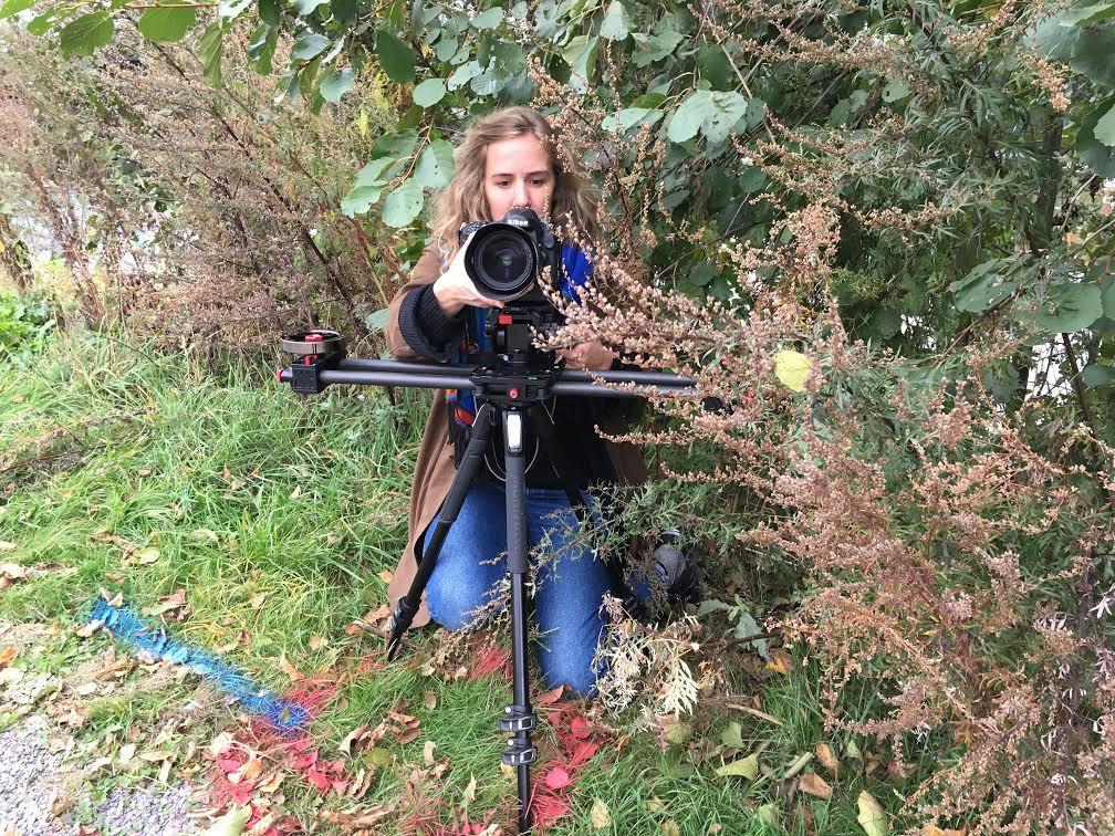 Aftonbladets talangfulle fotograf Anna Tärnhuvud i full färd med att filma i buskagen.