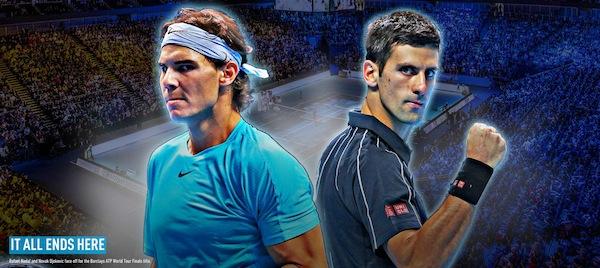 Världsettan Rafael Nadal och världstvåan Novak Djokovic gör upp om World Tour Finals-titeln i kväll. FOTO: BILDBYRÅN