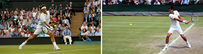 Roger Federer ställs mot Novak Djokovic i dagens drömfinal i Wimbledon. FOTO: AP