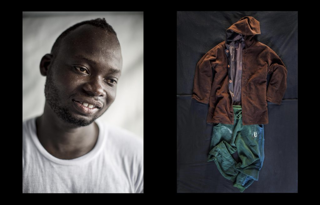 foto : narciso contreras : baba lemam. ghana. 18 yo. aquarius sos med. july 25, 2017.  baba leman made a journey to libya along with his brother, both fleeing poverty in ghana after their father passed away. while working in libya baba?s brother was killed during a gun fighting. although he survived, baba was trafficked to europe.  ??i lost my brother due a fighting in qerqarish, district of tripoli. he got killed. since then i thought to go to europe. i moved to al khums, even though it is also dangerous. because the dangers, everyone is scared and wants to go to europe. my friend persuaded me to leave to italy, but his boss forced me to board a boat going to europe... my friend?s boss, a libyan man, also tried to force my friend to board the boat, but he refused and remained in libya??