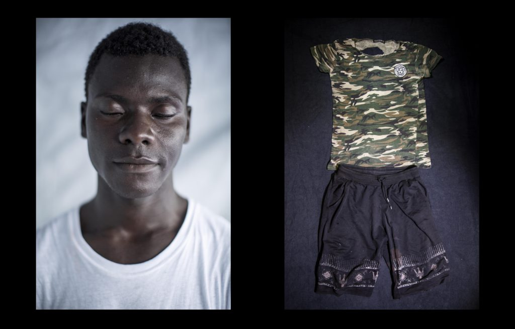 foto : narciso contreras : mohammed abdullah kemara. guinea conakry. 19 yo. aquarius sos med. july 24, 2017.  mohammed abdullah was rescued with other dozens of migrants off the shore of libya on july 24, 2017. he was sold by traffickers in sabratah and sent towards europe in a dinghy boat. he fled poverty in guinea conakry when he was 17 yo. holding the wish for a better life in italy, he found himself imprisoned in a camp in libya run by traffickers for four and a half months.   ??they put us in a camp and hidden us during the 4 and a half months. they threaten us of shooting if we tried to escape. one day they brought a big truck and loaded the truck with 150 people. they treated us like merchandise. they get us onto the truck and covered with a canvas. i couldn?t see anything, but they took us to the beach to board a boat??