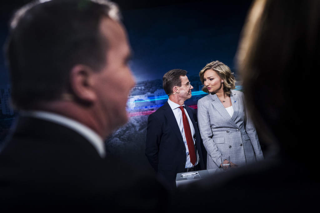 tv4:s partiledardueller. ulf kristersson (m) och ebba busch thor, politiker (kd) sverige partiledare,