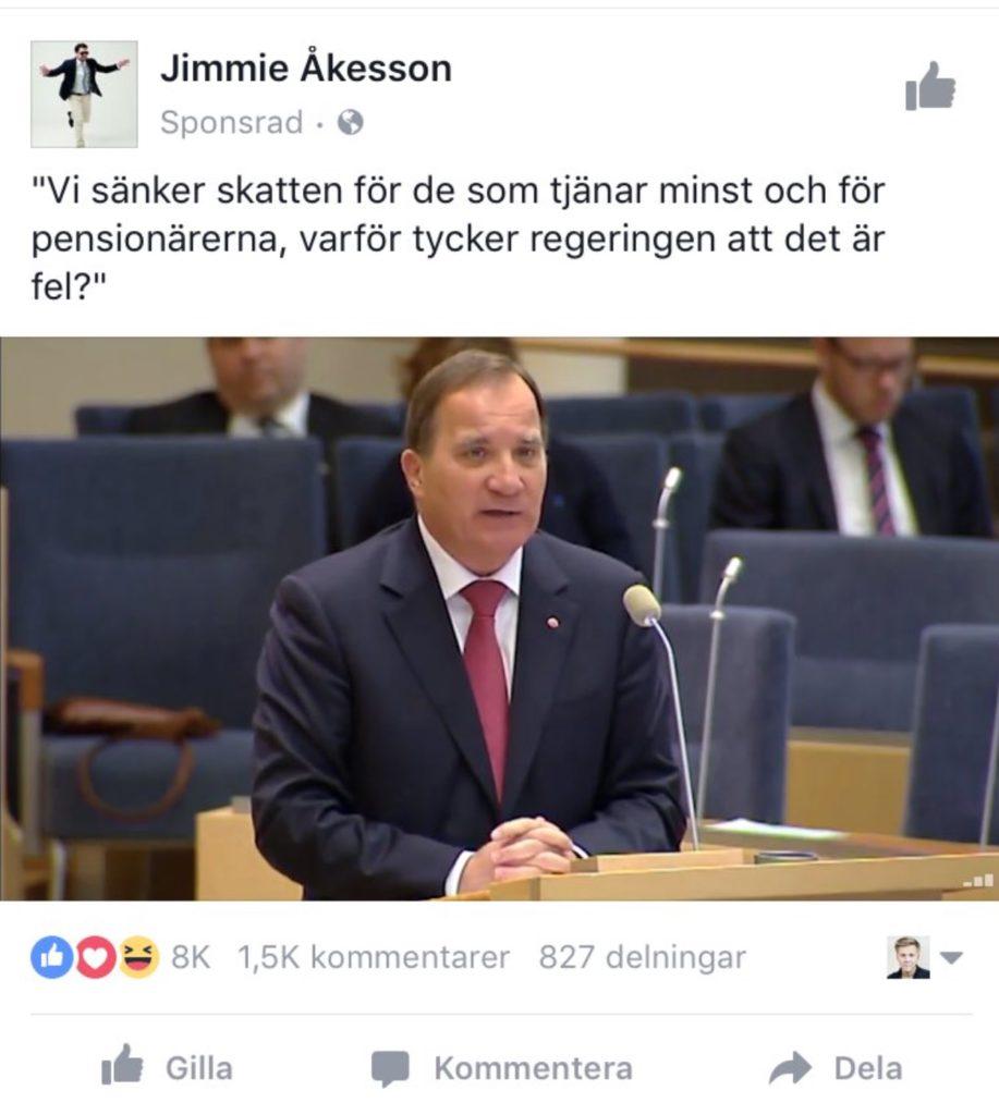 """En så kallad """"dark post"""" från Sverigedemokraterna. Inlägget har marknadsförts mot personer som """"gillar"""" Socialdemokraterna på Facebook."""