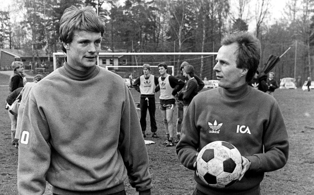 Fotboll, Uefacupen, IFK Göteborg - Hamburg SV:  Torbjörn Nilsson och Sven-Göran Eriksson © Bildbyran - 5749