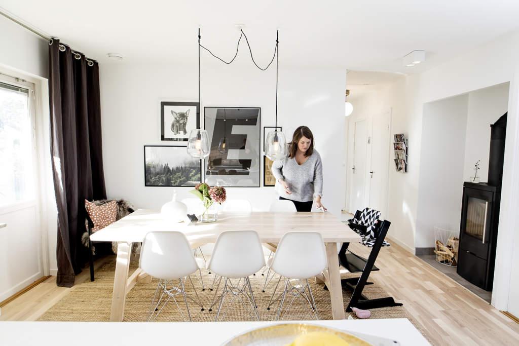 På 30 kvadrat har familjen Ruud planerat in matplats och kök. Den sociala aspekten var viktig i planeringen.